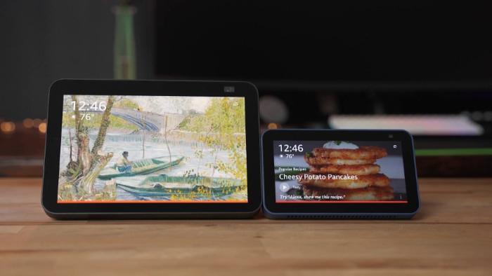 Amazon Echo Show 5 vs. Echo Show 8 wooden on table