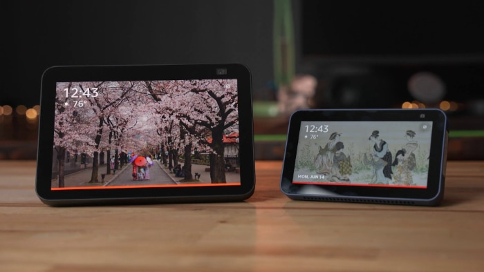 Amazon Echo Show 8 and. Echo Show 5 on wooden table