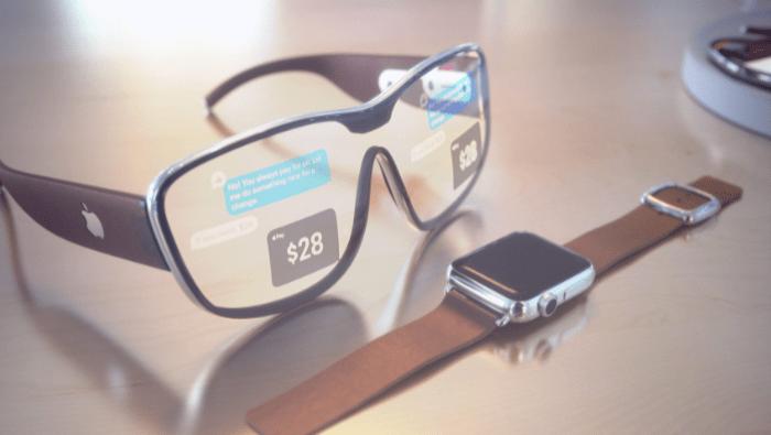 Apple smart glasses near apple watch