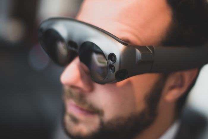 man wearing Augmented Reality glasses