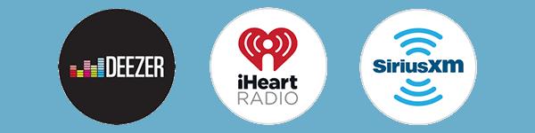 Logo of Deezer, iHeartRadio, and SiriusXM