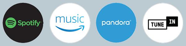 Logo of Spotify, Amazon Music, Pandora, and TuneIn