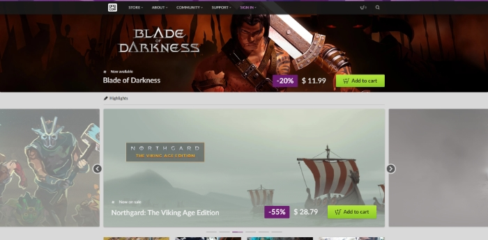 Interface of GOG Website