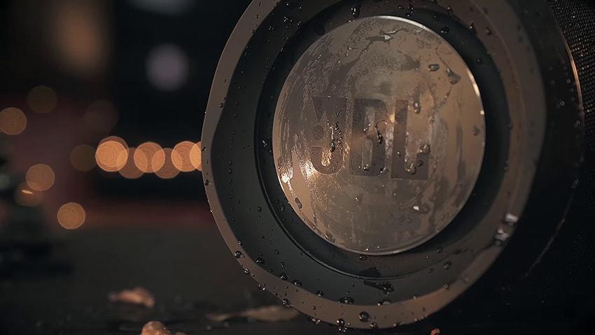 Water on black JBL Boombox