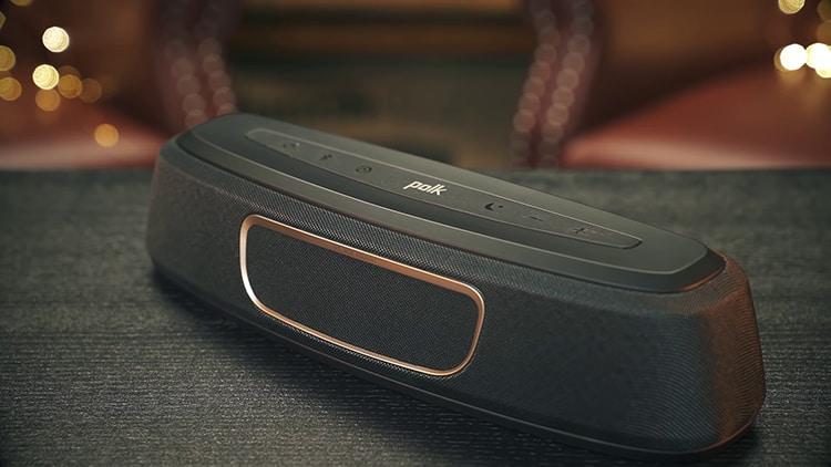 Black Polk Audio MagniFi Mini close-up on black table