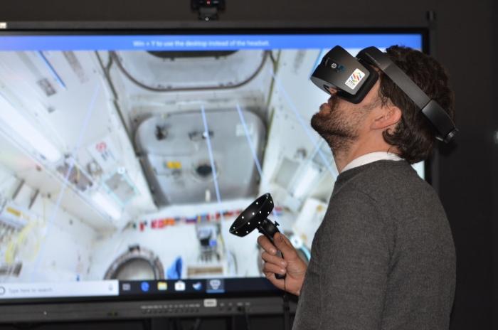 Man playing VR