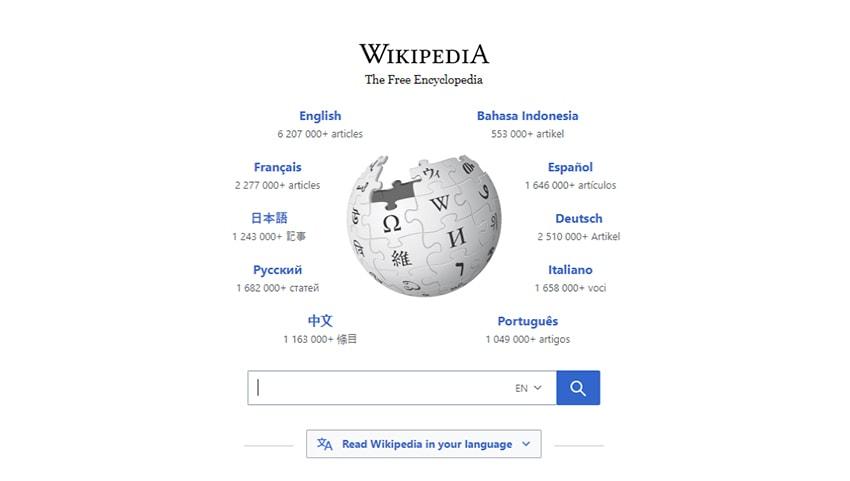 Screenshot of Wikipedia on white background